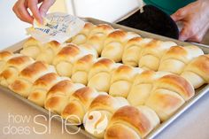 "Pinner said, ""This is my family's very favorite dinner roll recipe. My mom,  sister, and I are always asked to bring them to events. They are so easy and they turn out beautifully. No one will believe you MADE them!"