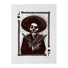 Calaveras Jack of Hearts Woodcut Print