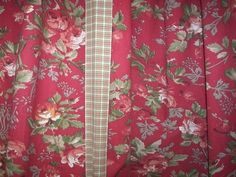 Vintage French Country Victorian Red Roses Tie Up Shade Curtains Panels Drapes 2…