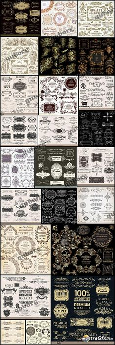 Stock Vector - Vintage Elements - 25 EPS...