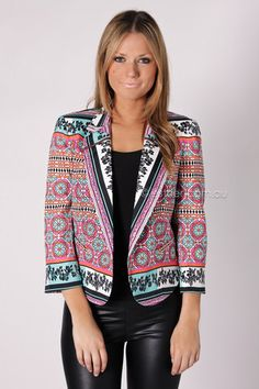 ladakh resort scarf print jacket - multi