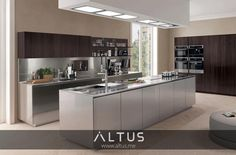The FiloFree Steel kitchen by Euromobil. Strong personality and extraordinary quality for cookery fans: fingerprint proof brushed AISI 304 stainless steel, 100% recyclable, a guarantee of durability. www.Altus.me #LuxuryFurniture #InteriorDesign #Kitchen #Kitchens #Design #Luxury #MadeInItaly #Cooking #Cook #Food