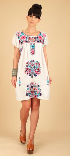 Vintage Mexican Embroidered Mini Tunic Dress *Tons of Beautiful Hand Embroidered Details *Rich Rainbow Colors *Gathered Detail at Bust Kurti Embroidery Design, Embroidery Dress, Embroidered Dresses, Nice Dresses, Summer Dresses, Girl Fashion, Fashion Outfits, Mexican Dresses, Handmade Dresses