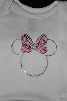 Minnie Mouse Rhinestone Onesie by vickreations on Etsy, $8.00