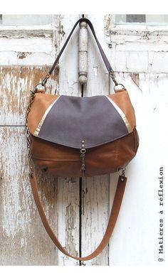 Sac Moon ArtDeco Caramel cuir vintage #matieresareflexion #upcycled #vintageleather #caramel #bag #besace #artdeco