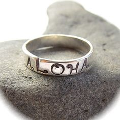 SIZE 4.5  Aloha Ring, Sterling Silver, Hand Stamped Jewelry, Hawaii, Hammered, Handmade, Gift for Her
