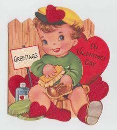 Vintage Greeting Card Valentine Boy Shining Shoe UNUSED A-Meri-Card Flocked j134