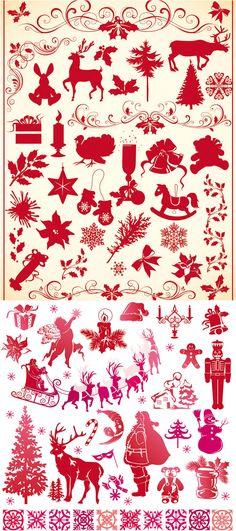 #Christmas decor ornaments #vector