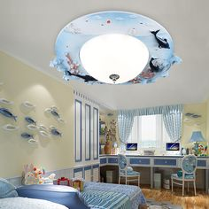 ==> [Free Shipping] Buy Best Cartoon kindergarten boy LED ceiling lamps Children lamp living room girl bedroom home lighting blue pink ocean fish round za Online with LOWEST Price   32812725226
