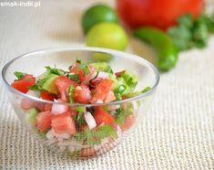 Kachumber salad - Indian version of pico de gallo (salsa fresca). (in Polish) Kachumber Salad, Allergy Free, Healthy Salad Recipes, Egg Free, Watermelon, Dairy Free, Salsa, Side Dishes, Vegan