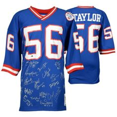 1986 New York Giants Fanatics Authentic Multi-signed Blue Nike Elite Lawrence Taylor Jersey Lawrence Taylor, Nfl Photos, Nfl New York Giants, Nfl Gear, Football Conference, Uniform Design, Blue Nike, National Football League, Sports