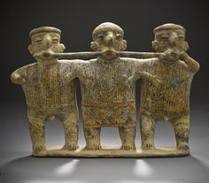 Mourners, Mexico, Nayarit, 200 B.C. - A.D. 500, Slip-painted ceramic with incised decoration.