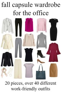 A fall work capsule wardrobe - over 40 outfits with just 20 pieces including shoes and accessories by Wardrobe Oxygen #elegantwardrobebasics