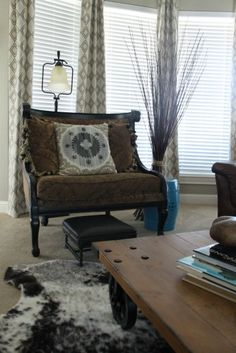Eclectic Decor... Several different textures with some bold splashes of color. ?....