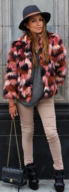 River Island Multi Colored Faux Fur Jacket by Sincerely Jules