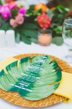 Creative, Day-Of Stationery, Hawaii Wedding, Tropical Leaf Menu