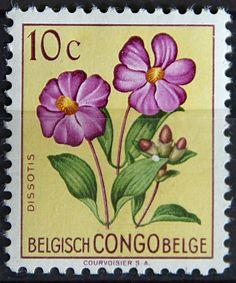 Congo Democratic Republic,  FLOWERS IN NATURAL COLORS. DISSOTIS. Scott 323  A86.  10c, Perf 11 1/2.  Issued 1960 June 30.  Unwmk. 21 x 25 1/2 mm.