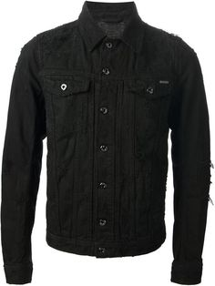 $630, Distressed Denim Jacket by Diesel. Sold by farfetch.com. Click for more info: http://lookastic.com/men/shop_items/91470/redirect