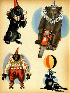 Vintage Circus Illustration. Yeats writes a poem called The Circus Animal's Desertion and discusses his lack of ability to write poetry due to his broken heart.