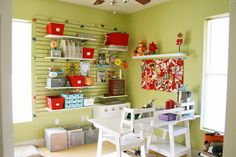 DIY craft room - different wall color but repeat unifying white on furniture and accessories