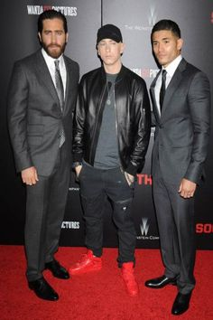 Jake Gyllenhaal, Eminem, and Miguel Gomez at the Southpaw premiere.
