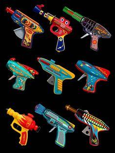 Ray Guns - retro design print by Terry Pastor. Pub Vintage, Vintage Space, Vintage Design, Vintage Toys, Steampunk, Comics Vintage, Space Toys, Science Fiction Art, Tin Toys