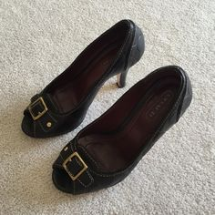 Coach. Black peep toe leather heels. Excellent condition! They have a rubber half sole on the bottom ($20 value) 🚫 no trades ✖️ no holds 🔵 offers considered through the offer button ♻️ if it's listed, it's available Coach Shoes Heels