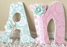 Custom Nursery Letters - Baby Girl Nursery Decor- Wooden Letters- Personalized- wall hanging-The Rugged Pearl by TheRuggedPearl on Etsy https://www.etsy.com/listing/234183948/custom-nursery-letters-baby-girl-nursery