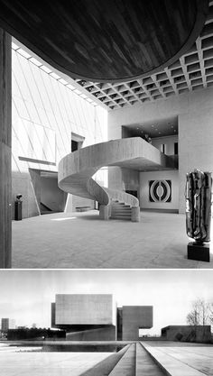 Pei - Everson Museum of Art, Syracuse Photo by Ezra Stoller Museum Architecture, Stairs Architecture, Amazing Architecture, Contemporary Architecture, Architecture Details, Interior Architecture, Contemporary Art, Interior Design, Contemporary Furniture