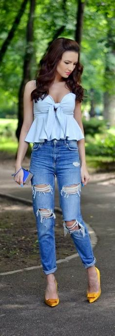 Ripped Jeans With Cool Top