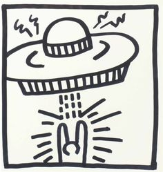 Keith Haring, Untitled (Man with UFO), 1982