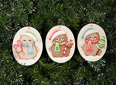 "Adorable Owl Ornaments.  Available at Artists Club.  Pattern is in ""All Things Possible for Winter and More!"""