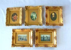 Vintage Gold Frame Set Prints by BeeHavenHome on Etsy