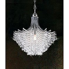 @Overstock.com - Silver Crystal Chandelier - Brighten your home with this elegant silver crystal chandelier, and you will be sure to impress all your guests. Featuring teardrop crystal accents and a silver finish, the chandelier measures 14.5 inches wide x 9.5 inches high with a 39.5-inch chain.  http://www.overstock.com/Home-Garden/Silver-Crystal-Chandelier/4127710/product.html?CID=214117 $121.49