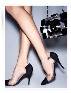 Crystal clear Chanel heels #fashion #heels #shoes  For luxury custom made shoes visit www.just-ene.com