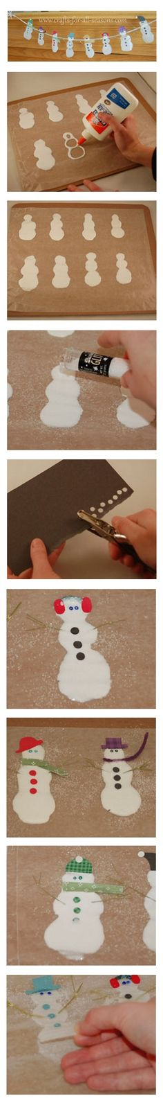 Simple and cute! Snowman Glue Garland or make an ornament. When the glue is still wet, you can place a small piece of yarn toward the top for hanging.