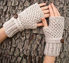 Hand Crocheted Fingerless Gloves Mittens