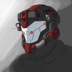 Futuristic helmet design.
