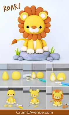 free tutorial how to make step by step pictorial Crumb Avenue lion jungle Elephant Cake Toppers, Elephant Cakes, Cake Topper Tutorial, Fondant Tutorial, Fondant Animals Tutorial, Fondant Elephant Tutorial, Cake Decorating Techniques, Cake Decorating Tutorials, Fondant Cake Toppers
