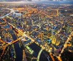 Aerial view of Melbourne Melbourne Australia, Australia Travel, Places To See, Places Ive Been, Queen Victoria Market, Surf, Melbourne Victoria, Victoria Australia, Sydney City