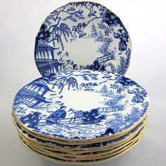 Blue and White - Mikado Royal Crown Derby accent plates
