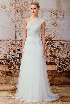 One-shoulder draped tulle A-line wedding dress with lightly beaded bodice, Monique Lhuillier