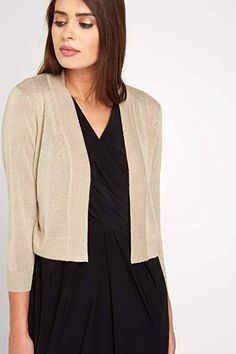 ad050510193 Roman Originals Women's 3/4 Sleeve Shimmer Lurex Shrug - Ladies Short  Cardigan - Metallic