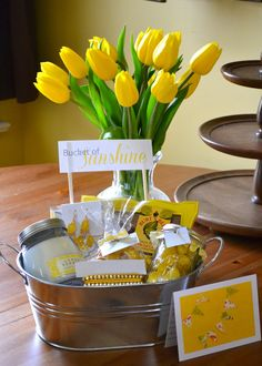 The Domestic Doozie: Bucket of Sunshine The Domestic Doozie: Eimer Sonnenschein Sympathy Gift Baskets, Mother's Day Gift Baskets, Sympathy Gifts, Themed Gift Baskets, Beach Gift Basket, Raffle Baskets, Wine Baskets, Cheer Up Gifts, Gifts For Friends