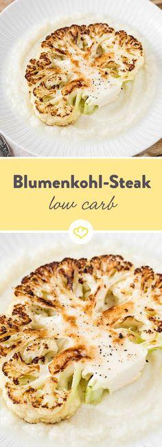 Saftiges Steak auf fluffigem Püree - klingt gut? Aber hier kommt kein klassisches Steak auf Kartoffelpüree, sondern hier trifft Blumenkohl auf Blumenkohl!