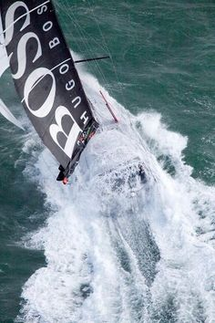 Hugo Boss yacht racing in the Vendee Globe round the world race- definition of extreme sports Sail Racing, Sailboat Racing, Volvo Ocean Race, Ocean Sailing, Sailing Ships, Sailing Yachts, Sailing Regatta, Sailing Dinghy, The World Race