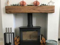 Oak Fireplace Beam Character Rustic Oak Mantel Aged* to Floating Fireplace Mantel, Wood Burner Fireplace, Oak Mantle, Wooden Fireplace, Mantle Shelf, Rustic Mantel, Fireplace Shelves, Farmhouse Fireplace, Fireplace Design