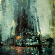 Brooding Cityscapes Painted with Oils by Jeremy Mann urban painting