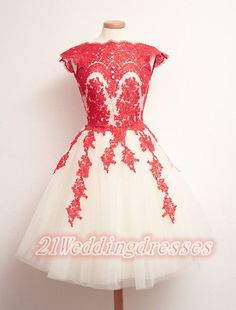 Red Lace Homecoming Dresses,Short Prom Dresses,Cocktail Dresses,Graduation…