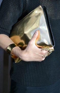 Metallic clutch, the ultimate glam accessory!